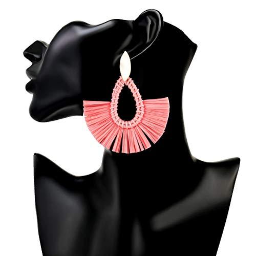 WYQ Baumeln Sie die Ohrringe, die mit gesponnenem Rattan für Frauen-Mädchen, Böhmen-Art-handgemachte Weidenohrringe hergestellt Werden (Farbe : Rot) - Gewebte Alle Wetter Wicker