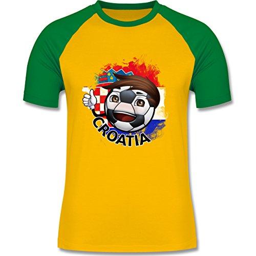 EM 2016 - Frankreich - Fußballjunge Kroatien - zweifarbiges Baseballshirt für Männer Gelb/Grün