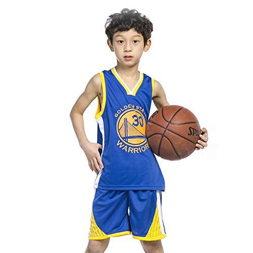 TFTREE 30 Trikot Stephen Curry Golden State Warriors - Kinderbekleidung Jungen Damen Herren Basketball Trikot Sommer Set Tops + Shorts 1 Stück Blau Fan Edition Herren League