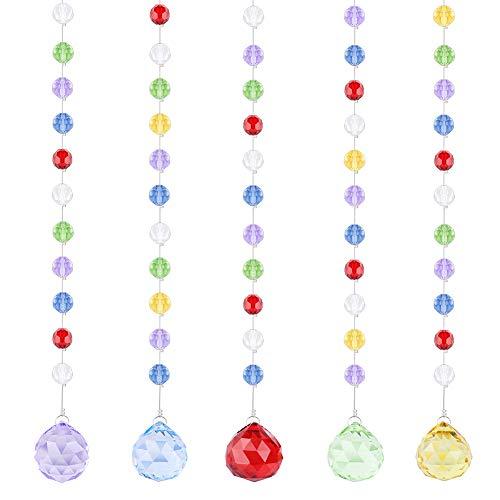 Fushing 5pcs 30cm multicolore cristallo a forma di sfera lampadario prismi parti perline fili per casa festa di nozze decorazioni di natale, multi-colored