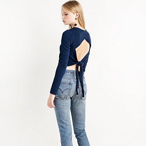 WanYang Summer Damen Hintere Langarmshirt Sweatshirt Blusen Streifen Lang  Sleeve Blau