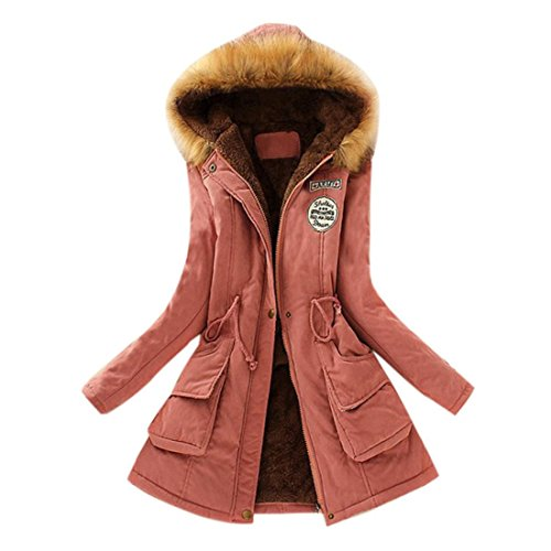 Mantel Damen Btruely Frauen Lange Mantel Pelzkragen Kapuzenjacke Schlank Winter Parka Outwear (L, Rosa)
