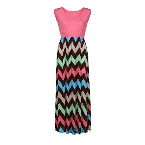 JUTOO Dawomen Striped Long Boho Kleid Lady Beach Sommer Sundrss Maxikleid(Rosa, EU:42/CN:XL) - Carters Striped Body
