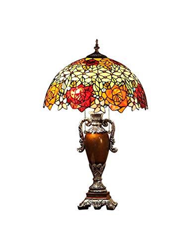KCoob Tischlampe Victoria Era Buntglas Shiny Colorful Floral Lampe im Wohnzimmer