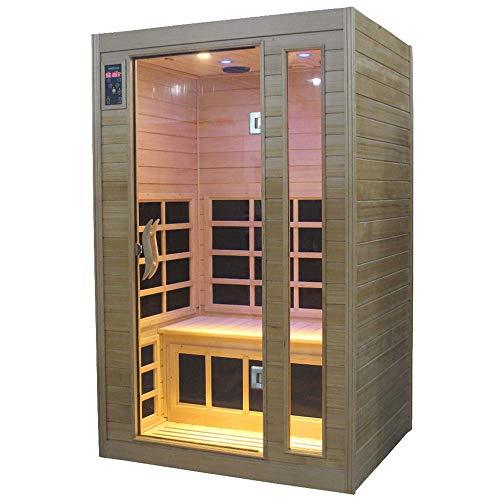 Sauna Finlandese ad Infrarossi 2 posti In Hemlock Canadese H188x120x97cm Vorich Gold Eco