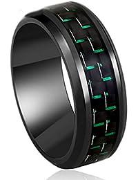 Gudeke De tungsteno de 8mm Negro y el anillo de la venda de la boda del verde de fibra de carbono del embutido de ajuste de la comodidad de los hombres