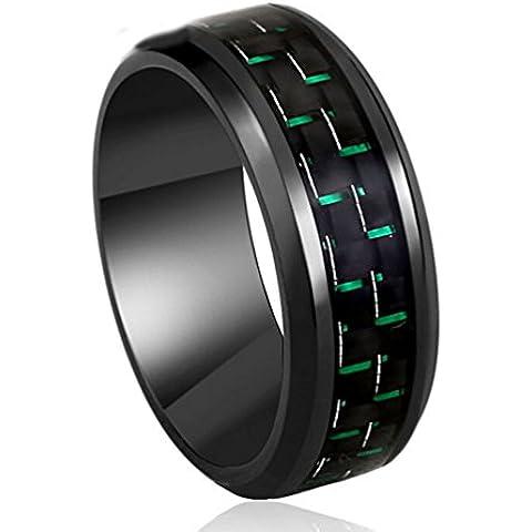Gudeke De tungsteno de 8mm Negro y el anillo de la venda de la boda del verde de fibra de carbono del embutido de ajuste de la comodidad de los