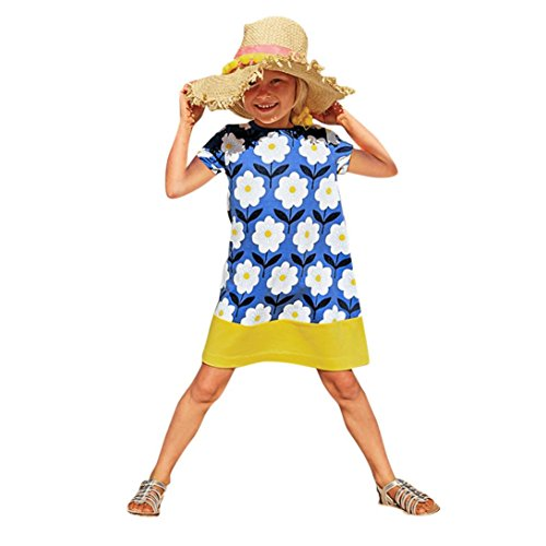 bobo4818 Toddler Baby Kid Girl Floral Pattern Dress Outfit Clothes Kleid Langarm MäDchen (blue, Size:4T) (Mädchen 2t-outfits)
