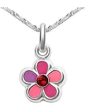 CLEVER SCHMUCK-SET Silberner Anhänger Blume pink rosa lila mit Zirkonia rot und Kette Singapur 40 cm STERLING...