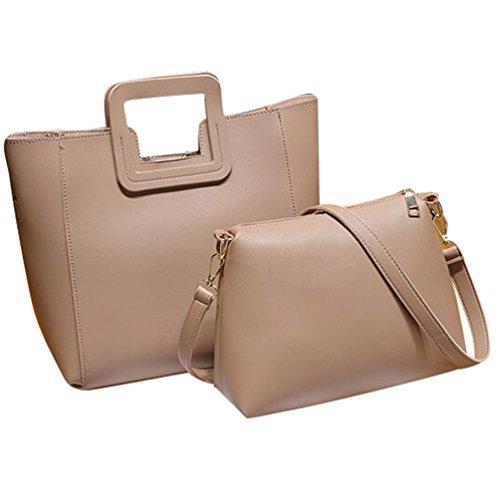 329f938806bba Baymate Damen Vintage PU Leder Groß Handtasche + Schultertasche 2pcs Beutel  Pink
