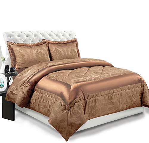 3-teiliges Luxus-Bettwäsche-Set, Jacquard, gesteppte Tagesdecke, Größe Doppelbett/King Size, Betty Caramal, Double (220x240 CM)