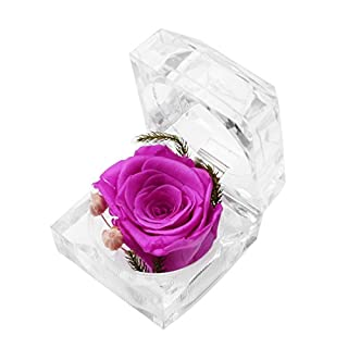 A-szcxtop Preserve Flowers Never Withered Rose Eternal Life Flowers with Crystal Ring Box, Great Gift for Valentine's Day Birthday Mother's Day And Wedding