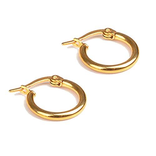 Bishiling 1 Paar Damen Ohrringe Edelstahl 10MM Piercing Ohrringe Creolen Gold