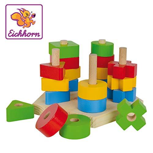 Eichhorn 100002087 - Steckplatte, 21-teilig, holz natur/bunt, 19 x 17,5 x 10,5 cm, 5 verschiedene Stecksymbole - Stapeln Spielzeug Kinder