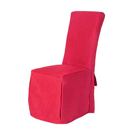 Red Linen Look Fabric Upholstered Slipcovers for Scroll Top Dining Chairs - 6 Pack