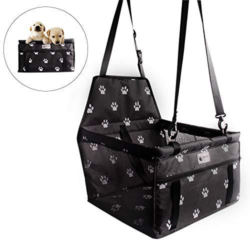 Asiento de Coche para Perros y Gatos,Bolsa Resistente al Agua con Seguridad para Viaje de Mascotas (Negro1)