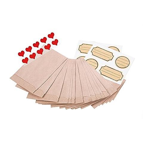 50 Stück kleine mini Papiertüten Tütchen Kraftpapier braun 6,3 x 9,3 cm (+ 1,5 cm Lasche) MIT TESTAUFKLEBERN !!! Verpackung Gastgeschenke Mitgebsel Globuli Samen Produkte Tabletten give-aways