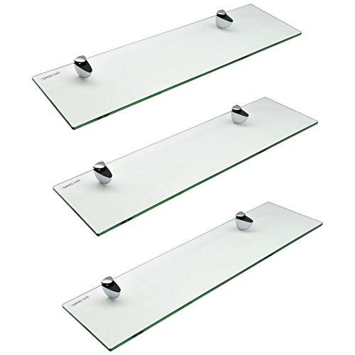 Glas-Badezimmer-Regal mit Chrom-Befestigungen - Ausgeglichenes Glas - 50cm - Packung mit 3