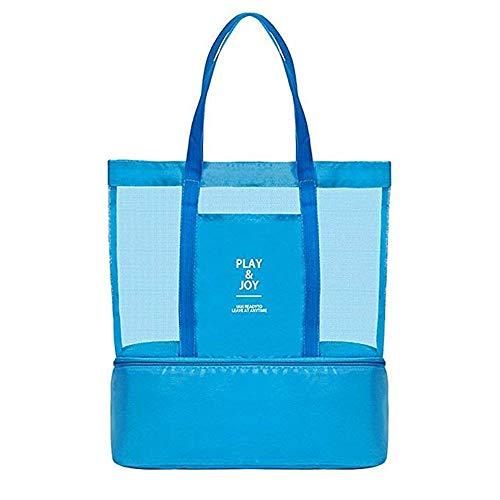 Spirit Light Mesh Beach Bag mit Kühltasche, Leicht Wasserdicht Tragetaschen für Strand Schwimmbad Camping Picknick Gym Sport Reisen-Große und Praktische Mesh Beach Tote für Frauen -