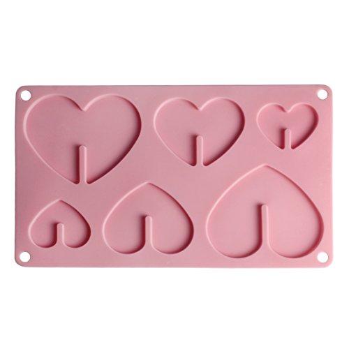 Andux Zone cuore silicone fai da te biscotto al cioccolato muffe del cubo di ghiaccio decorazione della torta vassoio GJMJ-01 (cuore)