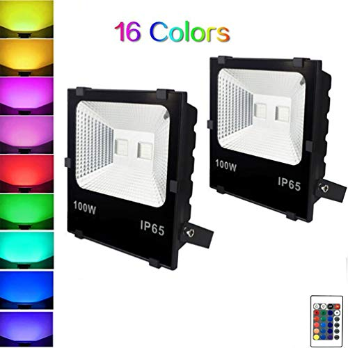 WRMING 100W LED Foco Floodlight RGB Proyector Exterior IP65 Impermeable 16 Colores 4 Modos Proyector Exterior Luces de Césped con Control Remoto para Terraza Jardin Patio Partido,UK,2PCS