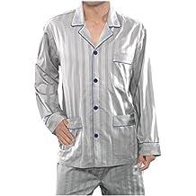 El Búho Nocturno - Pijama de Caballero   Pijama de Hombre de Tela de Manga Larga y Chaqueta a Botones clásico   Ropa de Dormir para Hombre - Satén, ...