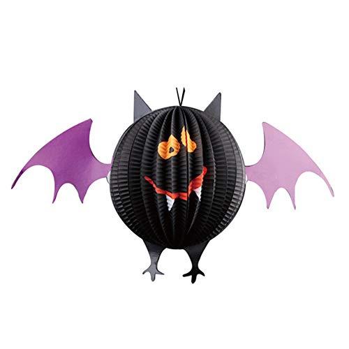 Milopon Halloween Laterne Deko Kürbis Papier Laternen Motiv Geist Spinnen Fledermäuse 46 * 26.5cm (Fledermäuse)