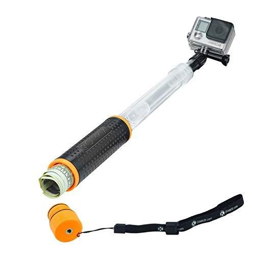 Perche Telescopique Extensible Waterproof et Poigne Flotteur Bobber 2 EN 1 - Pour Go Pro Hero 5 / 4 , Session, Black, Silver, Hero+ LCD, 3+, 3, 2, 1 - Extensible de 16.6 - 40 cm - avec un socle pour telecommande WiFi- Flottant