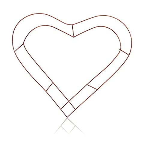 2x Wreath Heart Shaped Flat Wire Copper Frame 12