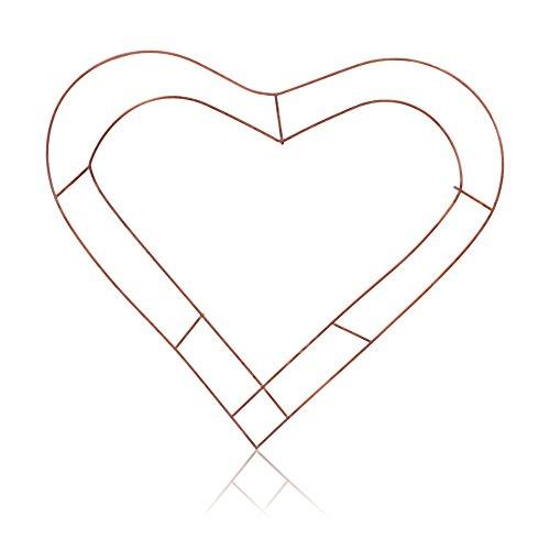 3x Kranz Herz Geformte Flache Draht Kupfer Rahmen 45,7cm
