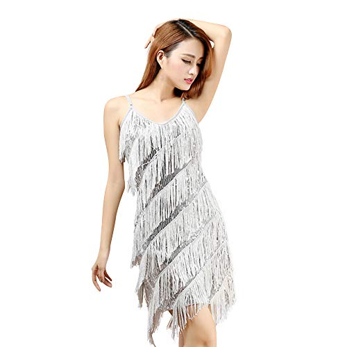 Amphia Latein KostüM Damen Bead Sequined Quaste Röcke,Frauen Classic Latin Rock Praxis Kleid Dance KostüM Tanzwettbewerb Performance Dress (Grau, One Size) (Latin Dance Kostüm Kleider)