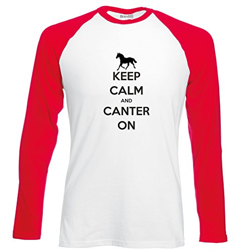 Brand88 - Keep Calm and Canter On , Langarm Baseball T-Shirt Weiss & Rot