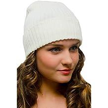 Blanco Gorro de Punto Mujer Hombre Invierno Cálido - Beanie Gorros de Lana  Esquí Moda 65d061de88b