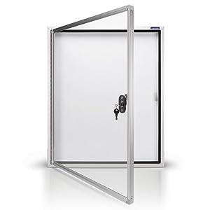 magnetoplan Schaukasten CC, 6 x A4 mit Sicherheitsglas für Außenbereich, weiß/aluminium/grau
