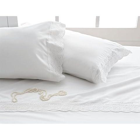 Burrito Blanco - Juego de sábanas Esencia 21 para cama 135x190/190 cm, color blanco