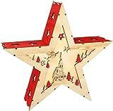com-four LED Holzdekoration für Fensterbank und Tisch - Weihnachtsbeleuchtung Stern - Weihnachtsdekoration mit Stimmungslicht (01 Stück - 3D Stern)