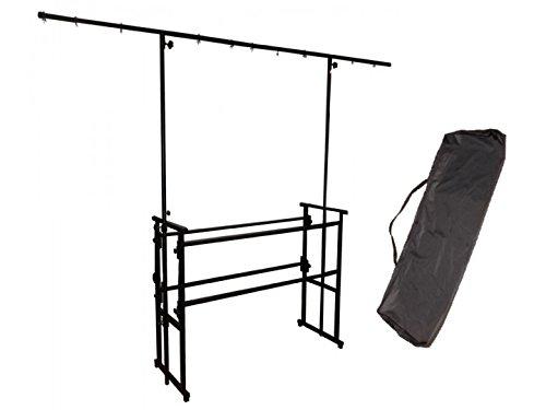 Metall-workstation (Ständer aus Metall, tragbar, inkl. Tragetasche, mit Beleuchtungsleiste, für mobile DJs, schwarz)