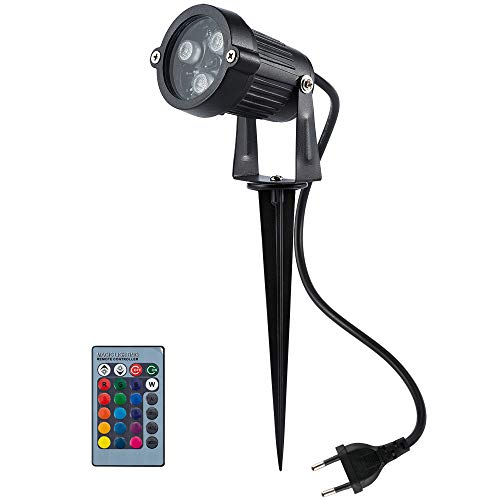 BLOOMWIN Foco Exterior LED Luces de Jardín 6W RGB IP65 Impermeable Proyector...