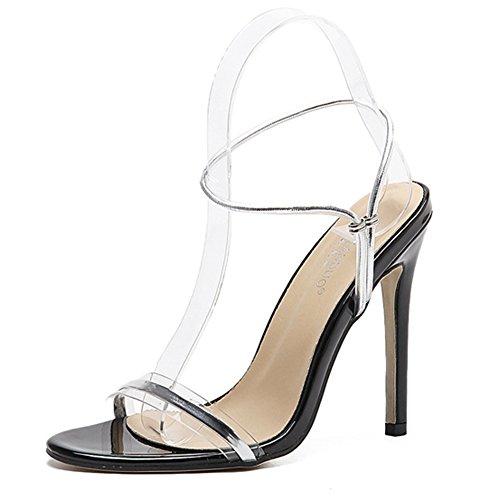 Aisun Damen Modern Metallic Transparent Knöchelriemchen Stiletto Offene Sandalen Silber 35 EU CCZ5tAV