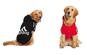 Boutonné Adidog, Grand Hoodie Chien, Taille: (5XL à 8 XL) & Couleurs: (noir et rouge)
