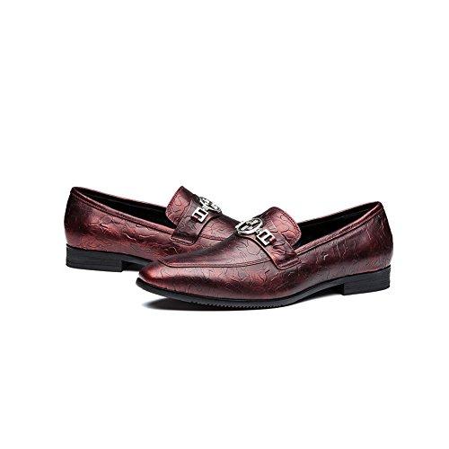 OPP Hommes Décoration Métal Mocassin Mode Chaussures de Conduite Rouge Vineux