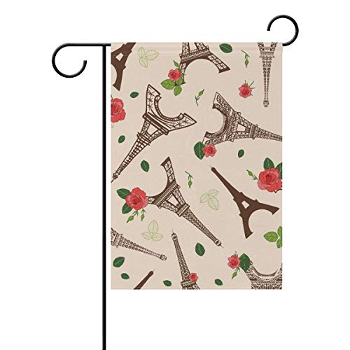 Axige888 Eiffel Tower with Flowers Seasonal Holiday Garden Yard House Flag Banner 12 x 18 inches Decorative Flag for Home Indoor Outdoor Decor