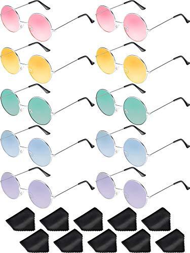 Blulu 10 Paar Runde Hippie Sonnenbrille John 60\'s Stil Kreis Farbige Gläser (Silber Rahmen)