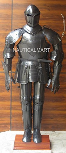 FULL SIZE MEDIEVAL KNIGHT WEARABLE BLACK SUIT OF ARMOR WEARABLE ARMOR COSTUME by NAUTICALMART