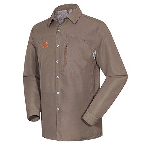hundeinfo24.de Herren Outdoor Sport Hemd Schnell Trocknende Sonnenschutz Langarm Hemden Khaki