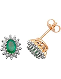 9ct Yellow Gold Diamond & Oval Emerald Stud Earrings
