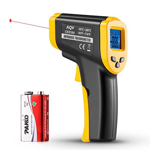 Preisvergleich Produktbild Termometro Digital,AQV Termómetro Infrarrojo Termometro Laser Pistola Temperatura con Pantalla LCD -50 a 380 Memoria de 32 Datos de Medición (Amarillo/Negro)