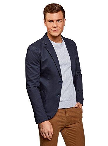 oodji Ultra Herren Taillierter Blazer mit Seitentaschen, Blau, DE 52 / L