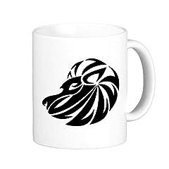 Idea Regalo - DIYthinker Costellazione del Leone Segno dello Zodiaco Simbolo Mark Silhouette Illustrazione Modello Classico Tazza Bianca in Ceramica Tazza di Ceramica del Latte caffè con Maniglie 350 ml