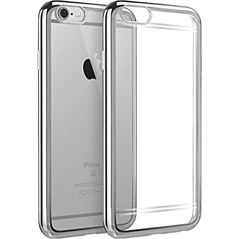 iPhone SE Case,Splaks [Moonlight Silver] Extra Shock-Absorb Clear back panel+Silver Metal Plating Frame,Extreme Lightweight Soft Flexible Silicone Rubber Anti-Scratch Protective Case For iPhone SE/5 SE/5/5S-Moonlight Silver